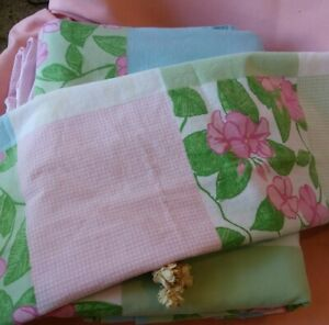Lily Pulitzer Party Patchwork Quilt Twin Flat Sheet & Fitted Sheet & Pillowcase