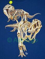 T-REX SKELETON GLOW-Tyrannosaurus Dinosaur Bones Fossil Science T Shirt 2XL ONLY