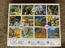 Cardinal Puzzles Set Multi 12-Pack Wildlife Animals 4 x 500 4 x 300 4 x150
