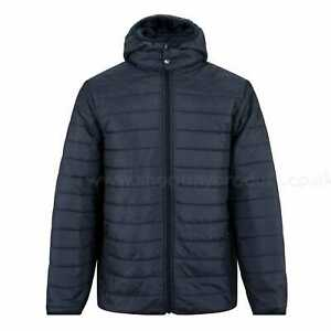 Mens Puffer Hooded Jacket Zip Up Quilted Bubble Plain Padded Winter Coat Outwear