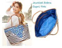 SALE!!! Stella & Dot Jeweled Zebra Stripe Capri Large Tote Beach Overnight Bag