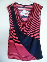 Susan Lawrence size L Women's Coral Navy Cowl Neck stretch top Tank NWT