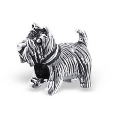 TJS 925 Sterling Silver Bead Puppy Dog Charm for European Bracelet Necklace