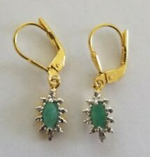 Emerald and Diamond Accent Earrings set on 18Kt YG/Sterling Silver