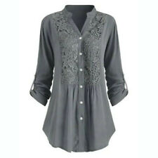 Womens Button Tunic Tops Ladies Long Sleeve Lace V Neck T-Shirt Blouse Plus Size