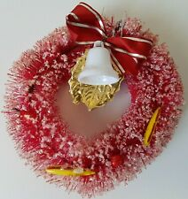 """Vintage Bottle Brush Christmas Wreath Red Frosted Decor Decoration Small 4"""""""