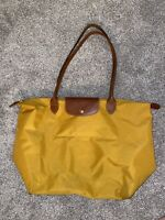 Longchamp Le Pliage Yellow Mustard Tote Large Bag Purse Handbag Brown Leather