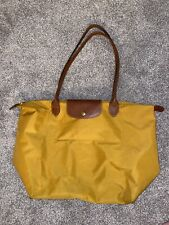 Longchamp Le Pliage Yellow Mustard Tote Large Bag Purse Handbag Brown Leather