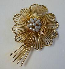 Perlen Brosche Blüte Schmuck 14 Karat Gold 585 punziert um 1960 groß 7,6 cm