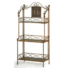 HOME DECOR RUSTIC BAKER'S RACK WOOD METAL 3 SHELF