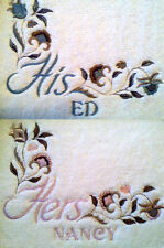 JACOBEAN ELEGANCE HIS AND HERS SET OF 2 BATH HAND TOWELS EMBROIDERED by laura