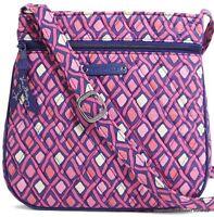 Vera Bradley Katalina Pink Diamonds Petite Double Zip Hipster Crossbody Bag $48