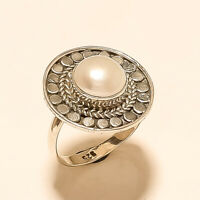 Natural Italian Fresh Water Pearl Ring 925 Sterling Silver Wedding Fine Jewelry