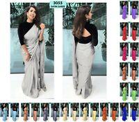 Pakistani Bollywood Plan Saree & Velvet Blouse Indian Party Wear Sari Saree 3055
