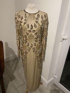 VINTAGE 60's CREAM SILK SEQUIN FLAPPER STYLE EVENING DRESS UK 12 MEDIUM