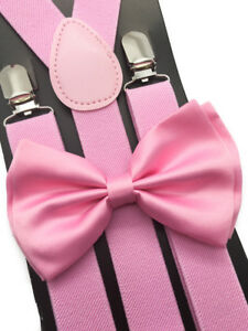 Pink Suspender and BowTie Set Wedding Formal Tuxedo Adults Men Women (USA)