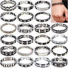 Men Women Silver Cross Stainless Steel Black Rubber Bracelet Bangle Wristband Hi