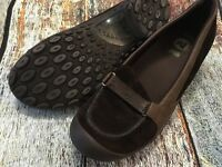 MERRELL Women's Plaza Glide Brown Leather Slip On Wedge Shoes US 11 EUR 42.5
