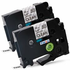 2PK TZ TZe 131 Black on Clear Tape For Brother P-touch PT-D210 12mm Label Maker