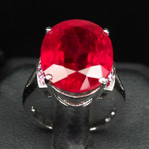 RUBY BLOOD RED OVAL 17.40 CT. 925 STERLING SILVER RING SIZE 6.75 JEWELRY GIFT