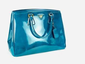 Prada Saffiano Parabole Tote Blue/Green Patent Leather Satchel