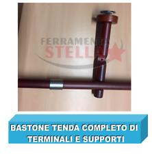 BASTONE PER TENDA LEGNO CILIEGIO CM 300 VERNICIATO OPACO C/ATTACCHI E TERMINALE