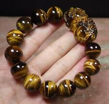 CHINESE Cat Tiger JADE Bead Dragon Pi Xiu Coin Bangle Feng Shui Bracelet 284323