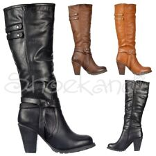 Womens Work Casual Day Mid High Heel Biker Knee High Boots Black Brown Tan Size