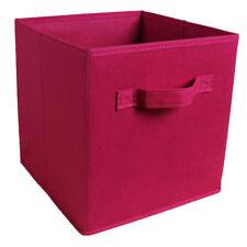 Fabric Foldable Cube Storage Bin for Underwear Clothes Organizer Wine Red