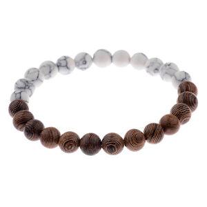 Spirituelles Glücks-Armband Yoga Kettchen Unisex Holz-Perlen Natursteine Weiß
