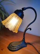 Art Nouveau Style Swan Neck Desk Lamp Etched Glass Shade