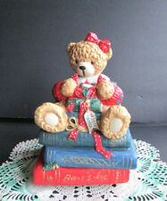 """Anco Ceramic Christmas Teddy Bear Wrapping A Gift """"To Dear Father"""" Music Box"""