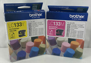 2 x Genuine Brother LC133 Ink Cartridges Magenta + Yellow - Brand New