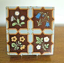 Minton & Co Decorative 19th C Encaustic Floor Tile Stylised Flower Designs