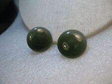 """Vintage Green Stud Clip Earrings, Enameled 1"""", Round, 1960's"""
