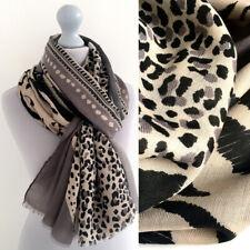 Large Leopard Print Scarf Grey Black Animal Big Long Cotton Shawl Wrap Pashmina
