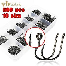 500pcs Fishing Hooks Jig Big Barbed Sharp Hook Carbon Steel FishHook Treble