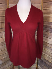 Gap Red Cotton Cashmere Long Sleeve V Neck Empire Waist Gathered Sweater Size S