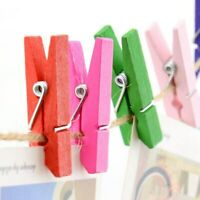 50Pcs Mini Clothespin Wood Clothes Pegs Colorful Wooden Home Clips