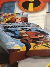 DISNEY THE INCREDIBLES reversible QUEEN bed QUILT DOONA COVER SET NEW
