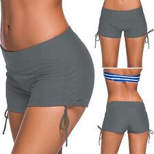 Light Grey Stretchy Drawstring Side Cover Up Bikini Swimwear Boardshorts S-3XL