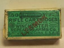 WINCHESTER REPEATING ARMS .22 LONG LESMOK RIFLE CARTRIDGES PATENT 1871 AMMO BOX