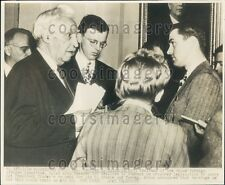 1947 US Congressman Charles Eaton of New Jersey Press Conference Press Photo