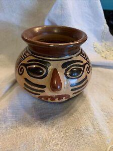 "Signed San Vincente de Nicoya Costa Rica Polychrome Pottery 4"" Vase"