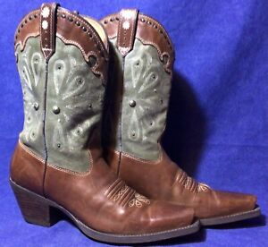 Brown Leather ARIAT Cowboy Boots Sz 7.5 B Green Suede