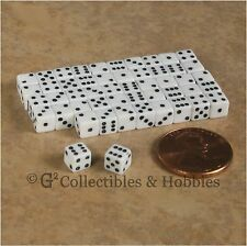 NEW 5mm 50 White Mini Six Sided Dice Set RPG Game Miniature Tiny 3/16 inch D6