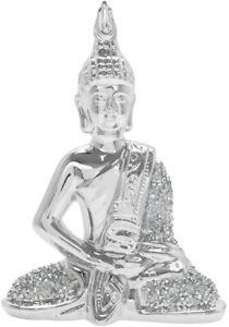 Thai Buddha Silver Sparkle Crushed Crystals Ornament Figurine Giftboxed