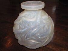 "R LALIQUE ""SALMONIDES"" Opalescent Glass Crystal Vase Signed Rene"