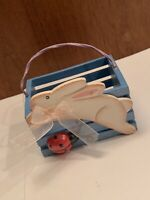 Small Blue Easter Bunny With Ladybug Basket Or Use As Cute Home Decor!
