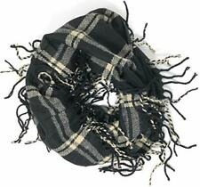 Women's Large Plaid Wool Feel Circle Fringe Infinity Scarf with Gift Bag